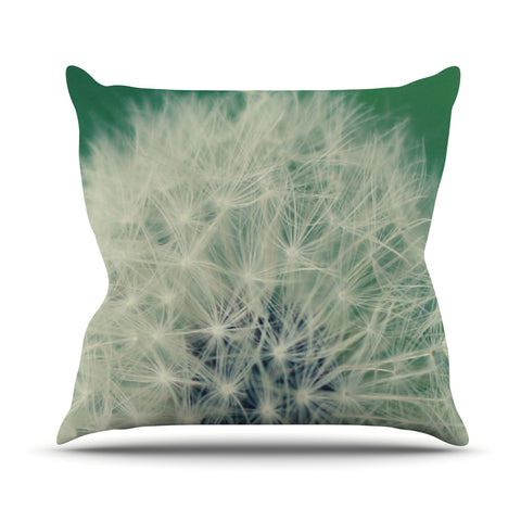 "Angie Turner ""Fuzzy Wishes"" Green White Throw Pillow - Outlet Item - KESS InHouse"
