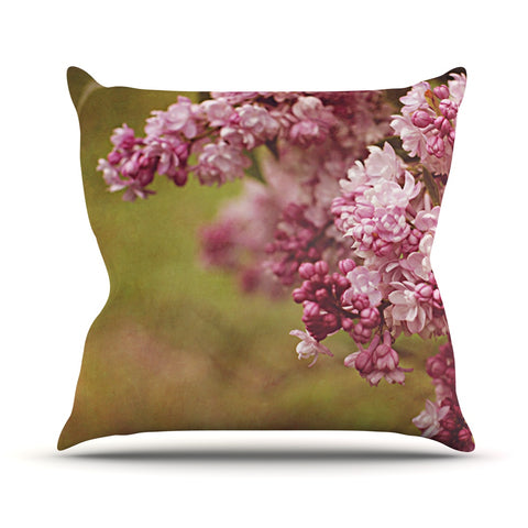 "Angie Turner ""Lilacs"" Pink Flower Outdoor Throw Pillow - Outlet Item"