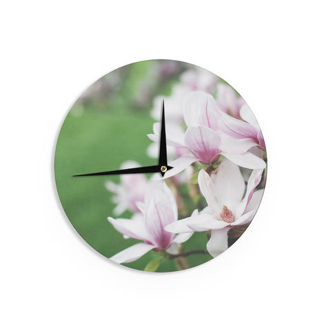 "Angie Turner ""Magnolias"" Pink Green Wall Clock - Outlet Item"