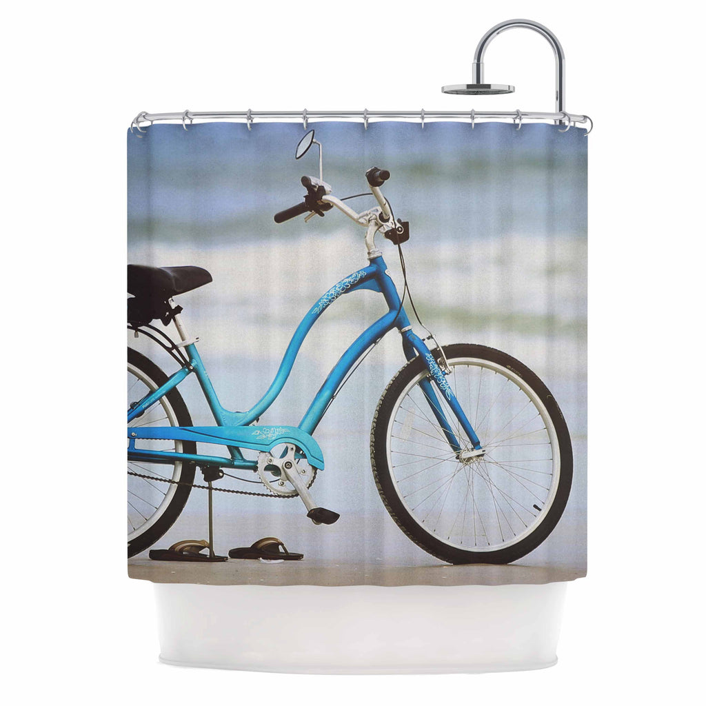 "Angie Turner ""Beach Bike"" Blue Gray Shower Curtain - Outlet Item"