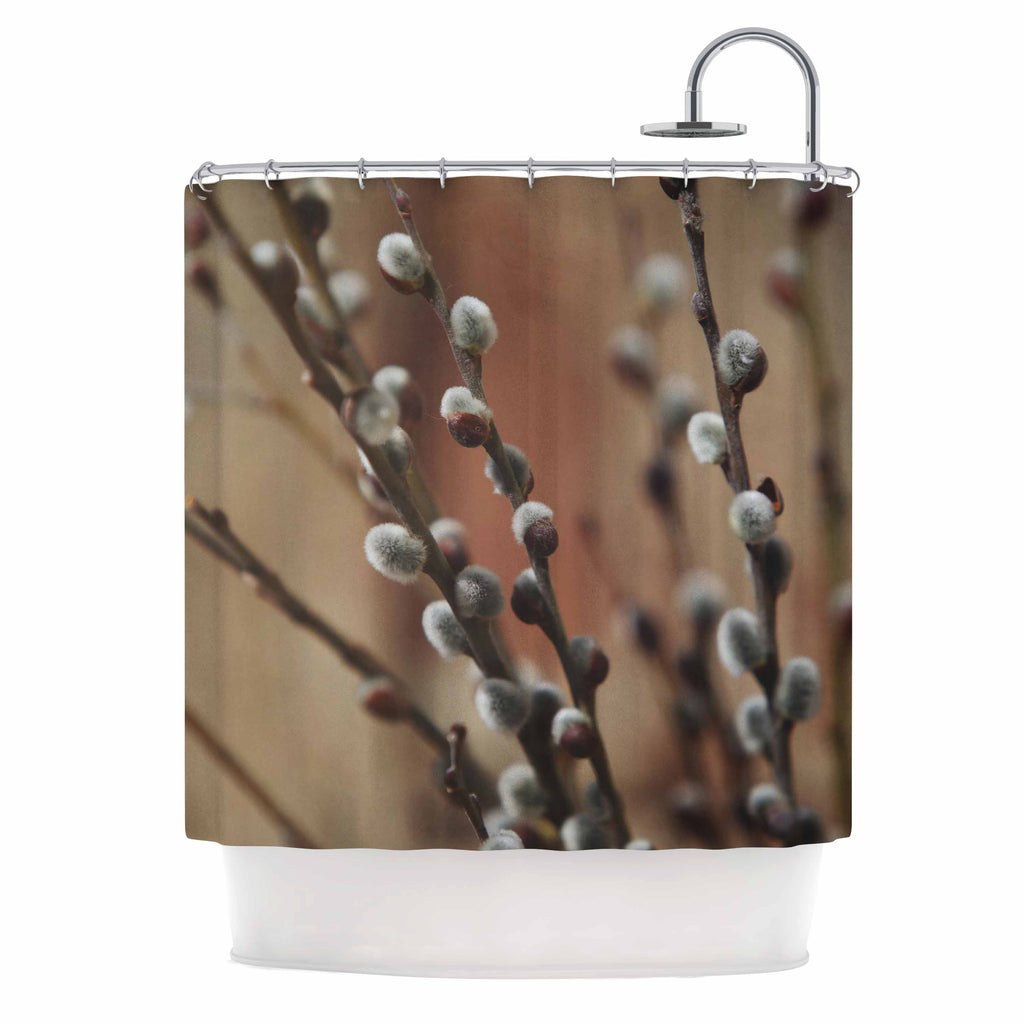 "Angie Turner ""Pussy Willows"" Brown White Shower Curtain - Outlet Item"