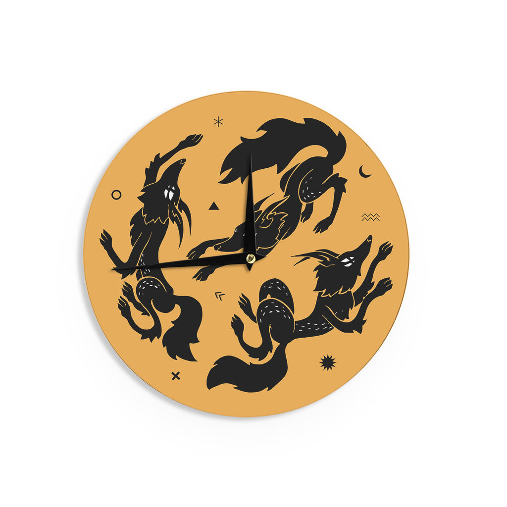 "Anya Volk ""Dancing Wolves"" Orange Abstract Wall Clock - KESS InHouse"