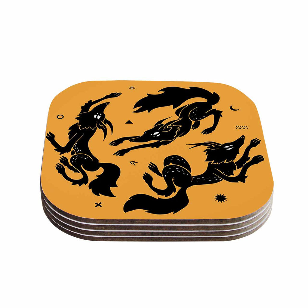 "Anya Volk ""Dancing Wolves"" Orange Abstract Coasters (Set of 4)"