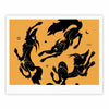 "Anya Volk ""Dancing Wolves"" Orange Abstract Fine Art Gallery Print - KESS InHouse"