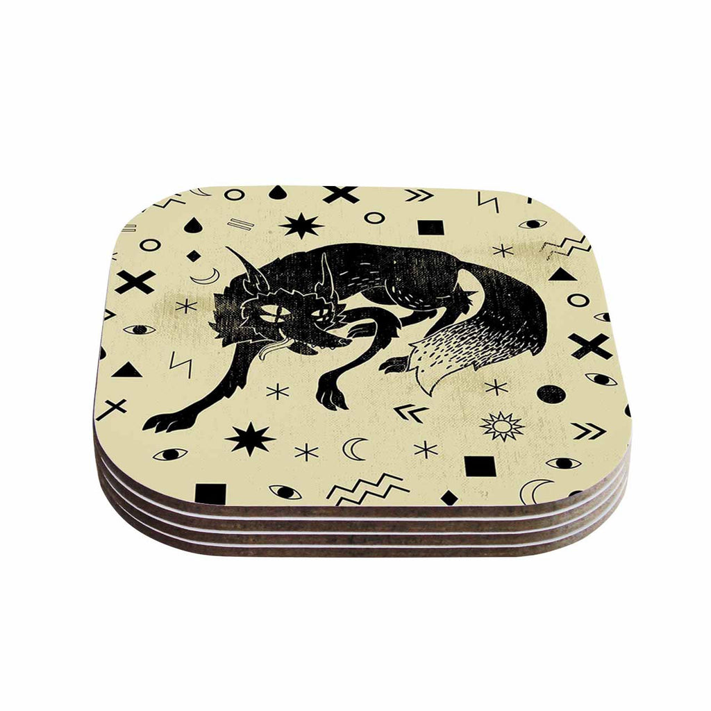 "Anya Volk ""Wolf"" Beige Illustration Coasters (Set of 4)"