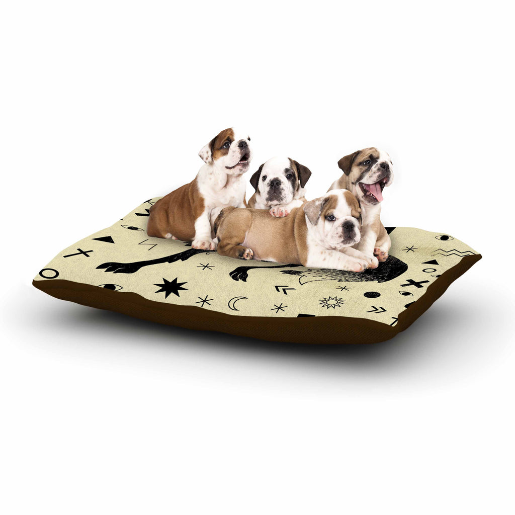 "Anya Volk ""Wolf"" Beige Illustration Dog Bed"