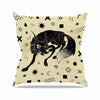 "Anya Volk ""Wolf"" Beige Illustration Throw Pillow - KESS InHouse  - 1"
