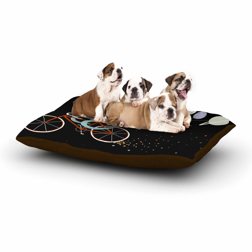 "Anya Volk ""Bunny In Space"" Red Fantasy Dog Bed - KESS InHouse  - 1"