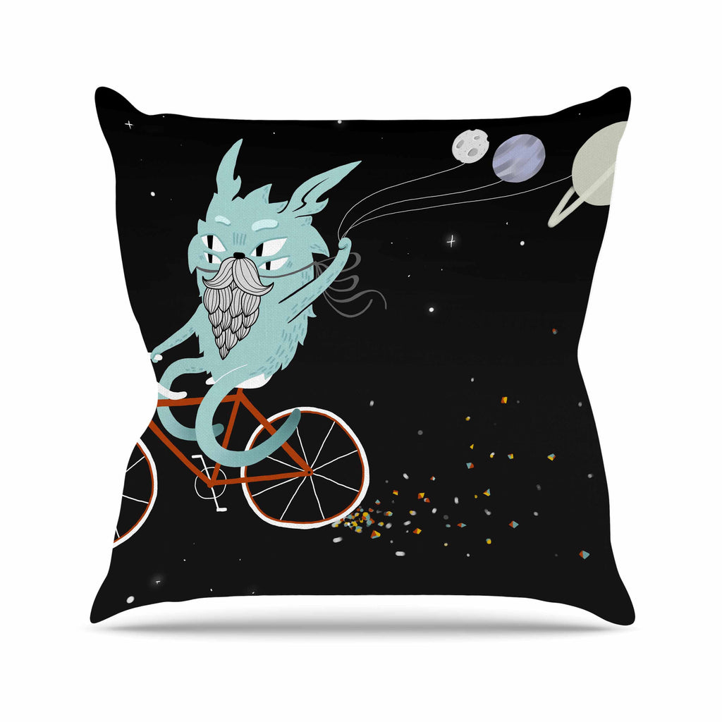 "Anya Volk ""Bunny In Space"" Red Fantasy Outdoor Throw Pillow - KESS InHouse  - 1"