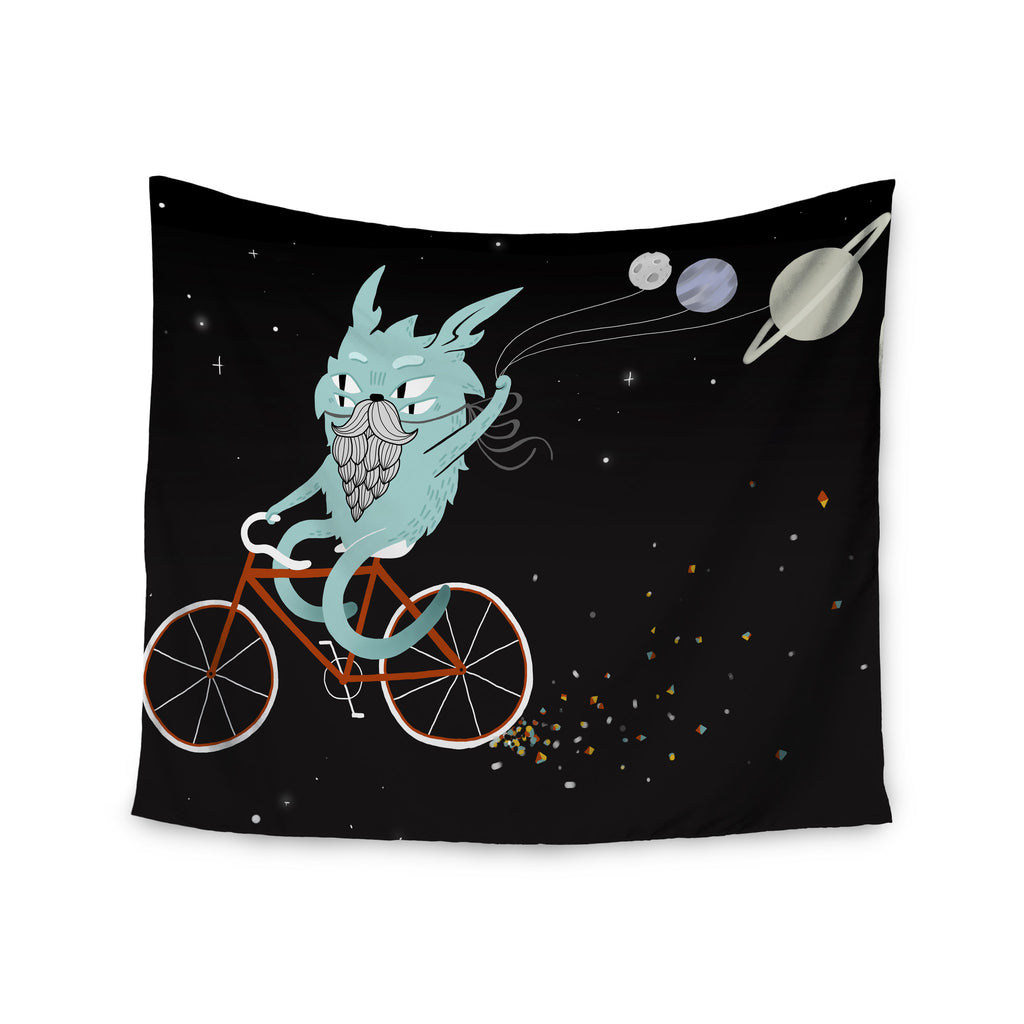 "Anya Volk ""Bunny In Space"" Red Fantasy Wall Tapestry - KESS InHouse  - 1"