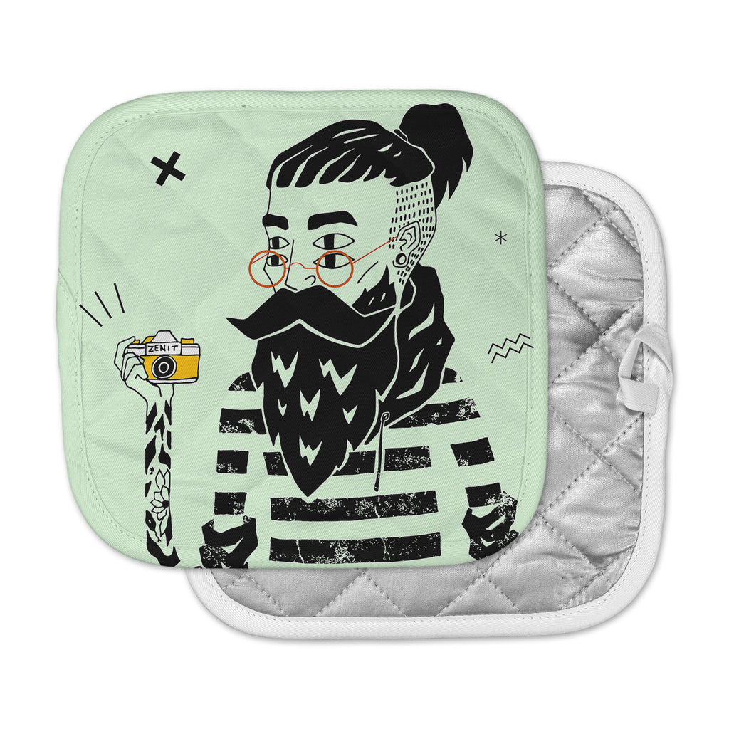 "Anya Volk ""Dreamer 3"" Green Black Pot Holder"