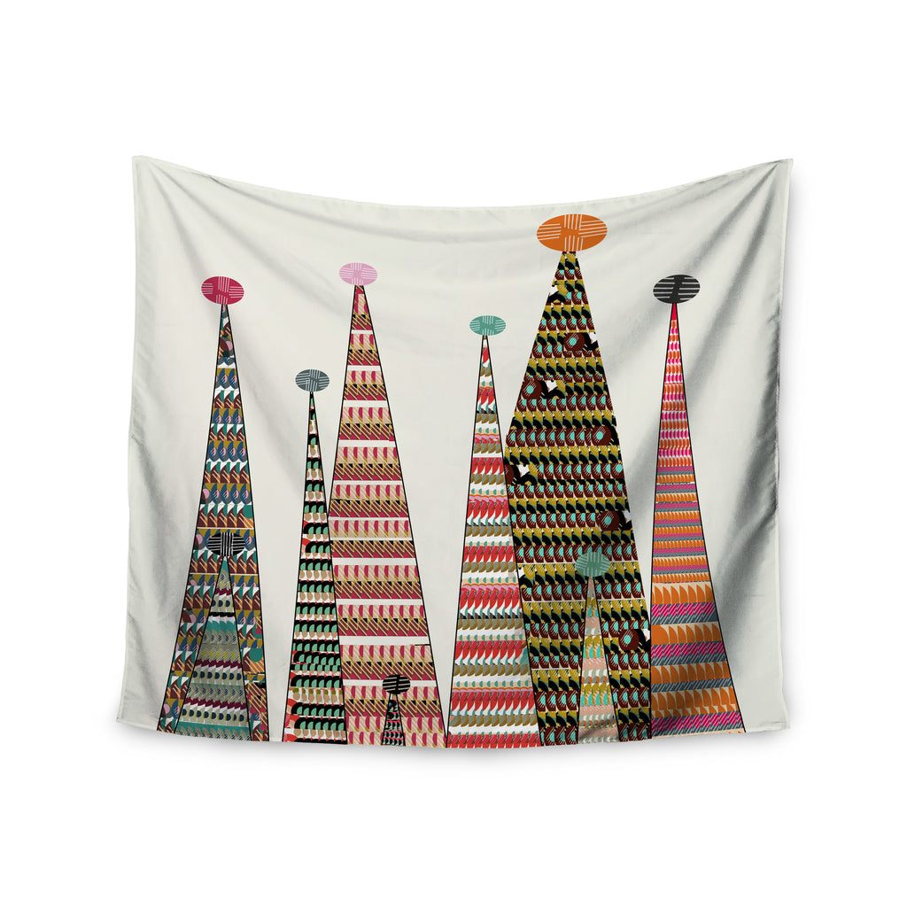 "Bri Buckley ""Feather Peaks"" Rainbow Triangles Wall Tapestry - KESS InHouse  - 1"