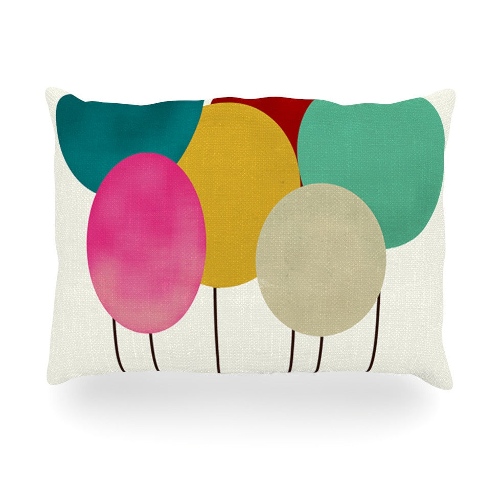 "Bri Buckley ""Celebration"" Rainbow Circles Oblong Pillow - KESS InHouse"