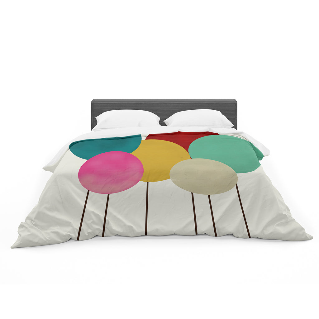 "Bri Buckley ""Celebration"" Rainbow Circles Featherweight Duvet Cover"