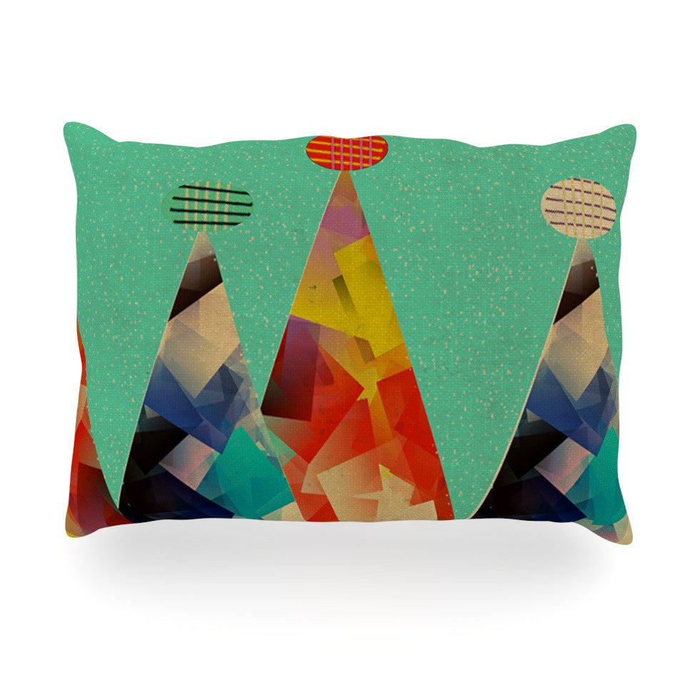 "Bri Buckley ""Rainbow Peaks"" Teal Triangles Oblong Pillow - KESS InHouse"
