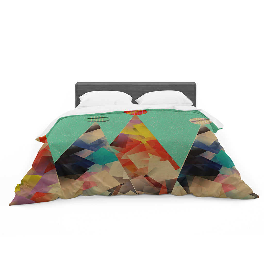"Bri Buckley ""Rainbow Peaks"" Teal Triangles Featherweight Duvet Cover"