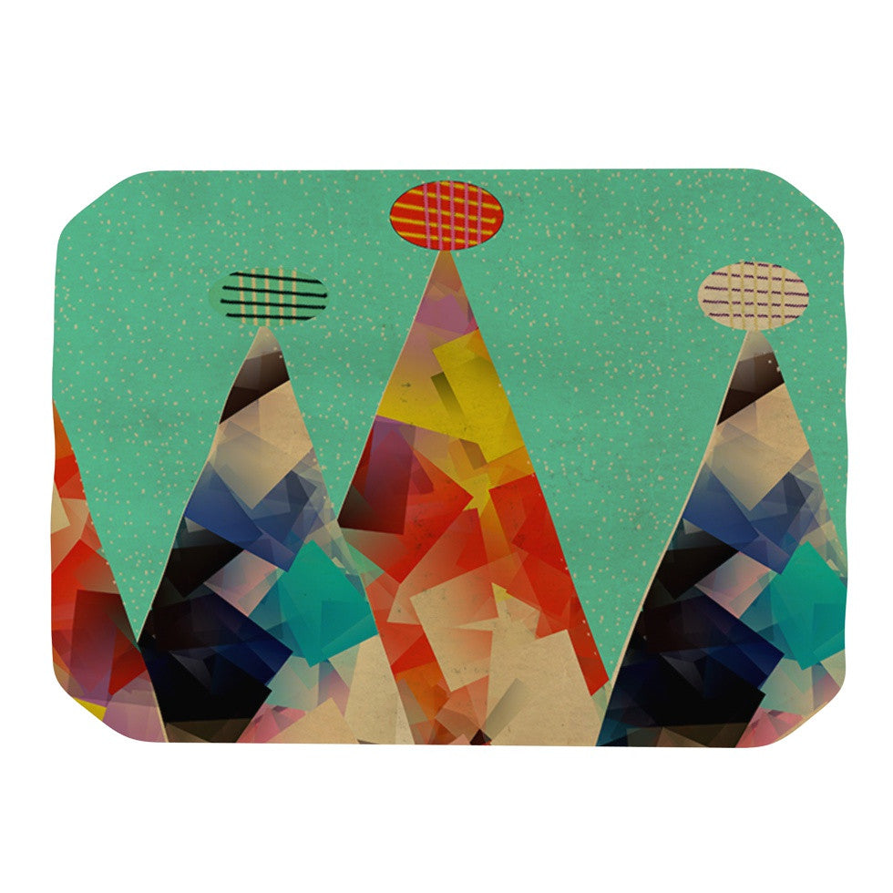 "Bri Buckley ""Rainbow Peaks"" Teal Triangles Place Mat - KESS InHouse"