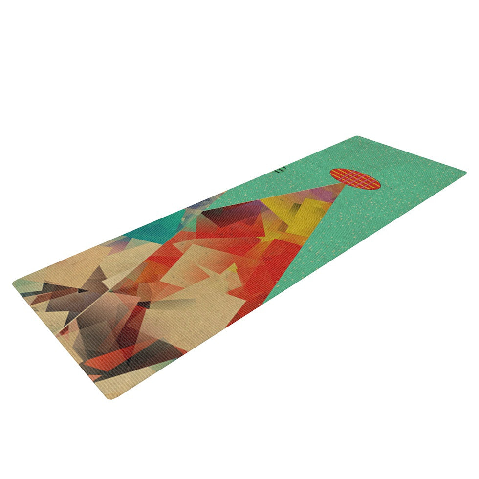 "Bri Buckley ""Rainbow Peaks"" Teal Triangles Yoga Mat - KESS InHouse  - 1"