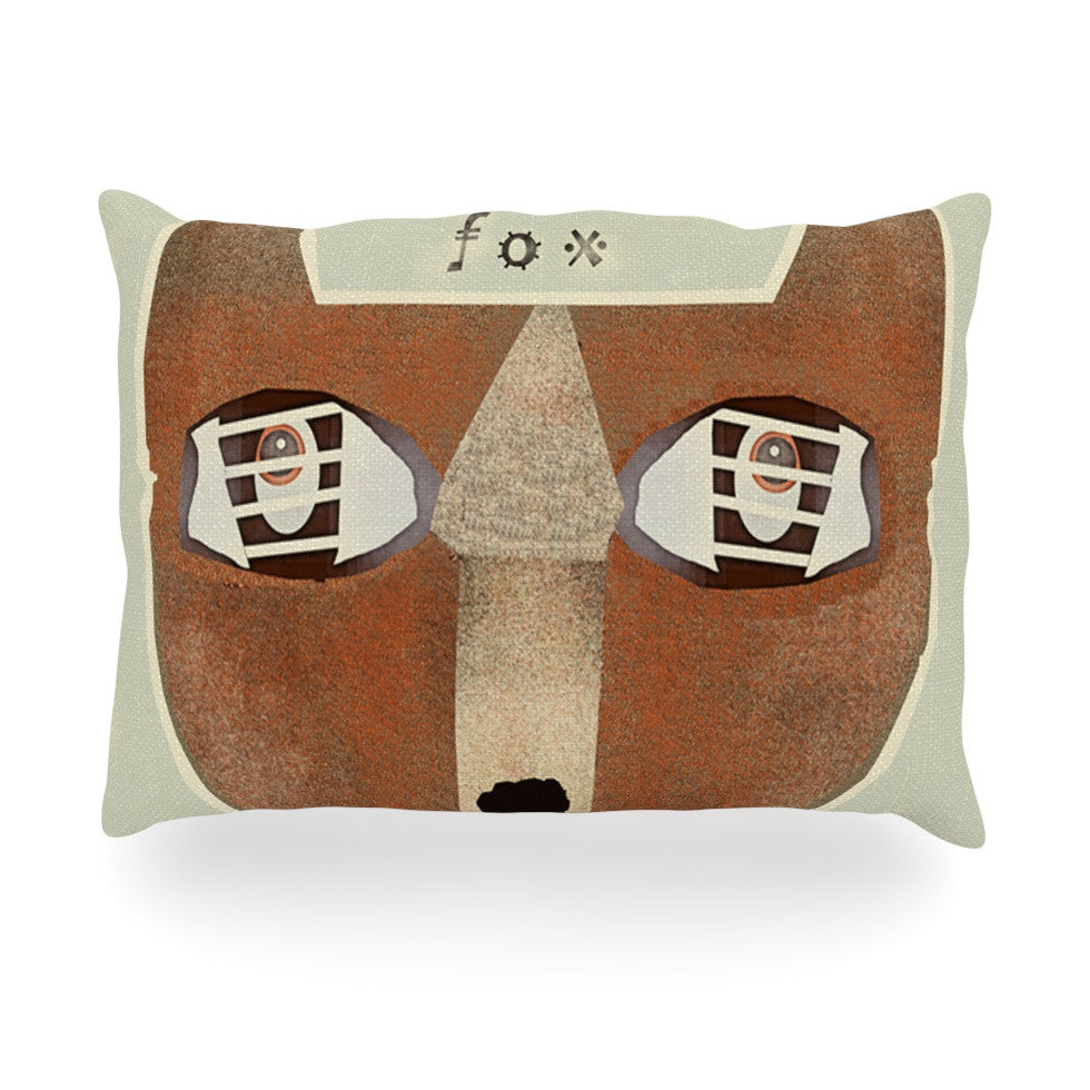 "Bri Buckley ""Fox Face"" Brown Tan Oblong Pillow - KESS InHouse"