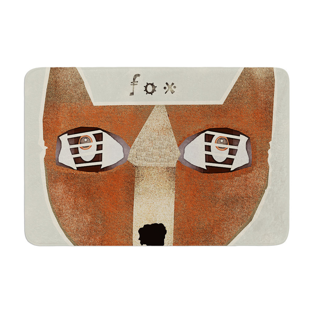"Bri Buckley ""Fox Face"" Brown Tan Memory Foam Bath Mat - KESS InHouse"