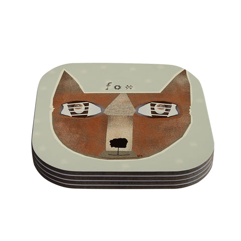 "Bri Buckley ""Fox Face"" Brown Tan Coasters (Set of 4) - Outlet Item"