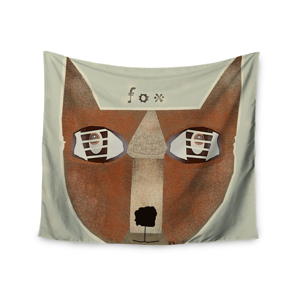 "Bri Buckley ""Fox Face"" Brown Tan Wall Tapestry - KESS InHouse  - 1"