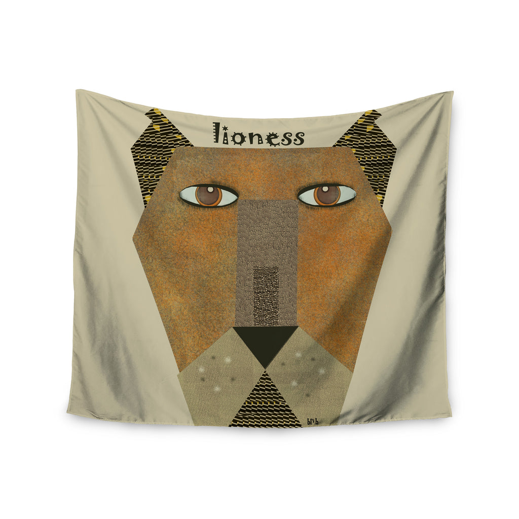 "Bri Buckley ""Lioness"" Tan Yellow Wall Tapestry - KESS InHouse  - 1"