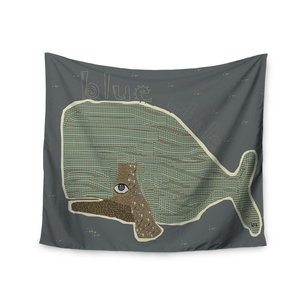 "Bri Buckley ""Blue Whale"" Blue Green Wall Tapestry - KESS InHouse  - 1"