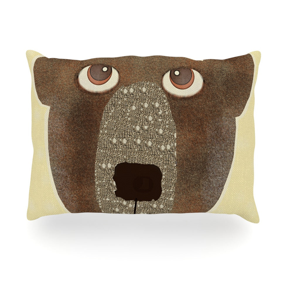 "Bri Buckley ""Bear"" Brown Tan Oblong Pillow - KESS InHouse"