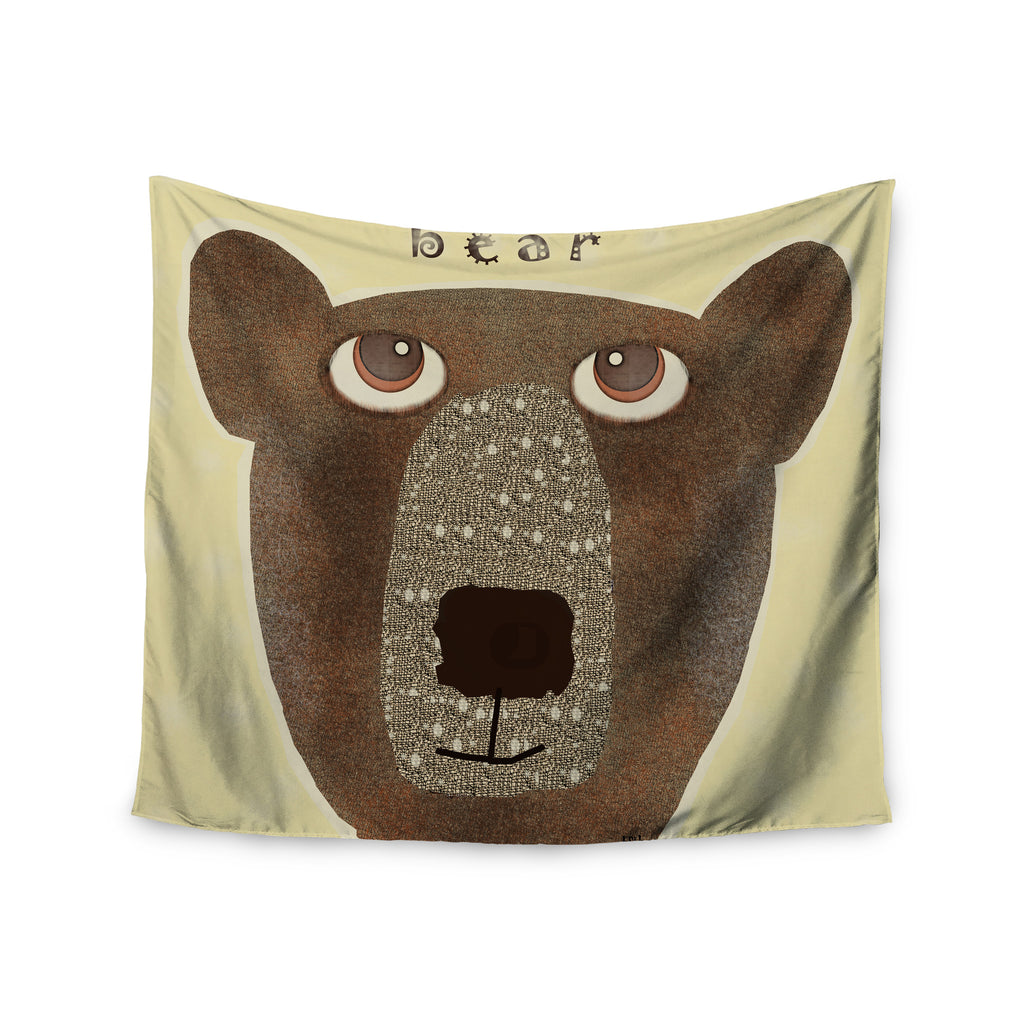 "Bri Buckley ""Bear"" Brown Tan Wall Tapestry - KESS InHouse  - 1"