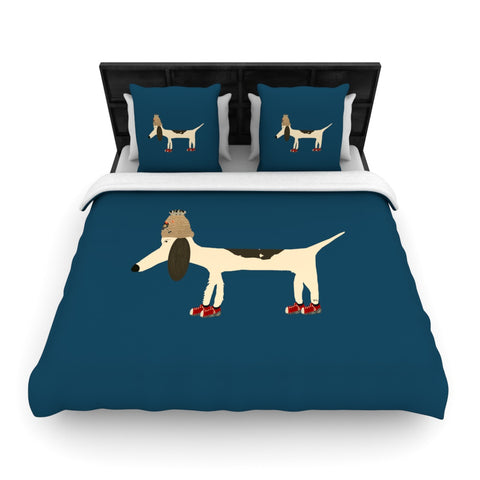 "Bri Buckley ""Chien"" Blue Woven Duvet Cover - Outlet Item"
