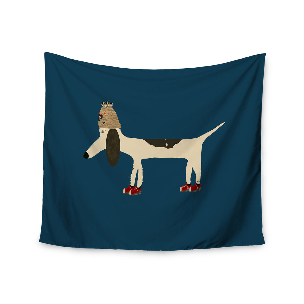 "Bri Buckley ""Chien"" Blue Wall Tapestry - KESS InHouse  - 1"