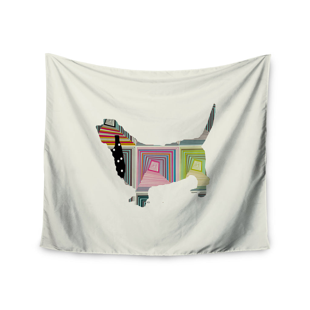 "Bri Buckley ""Basset"" White Rainbow Wall Tapestry - KESS InHouse  - 1"