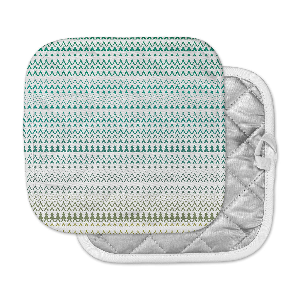 "Love Midge ""Revel"" Teal Chevron Pot Holder"