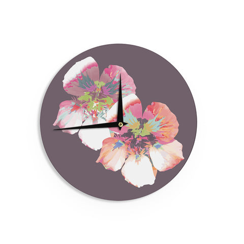 "Love Midge ""Graphic Flower Nasturtium"" Lavender Floral Wall Clock - Outlet Item"