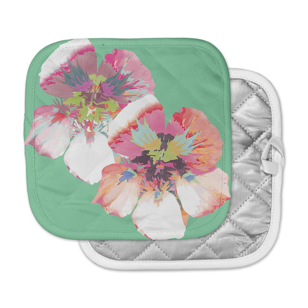 "Love Midge ""Graphic Flower Nasturtium Mint"" Green Magenta Pot Holder"
