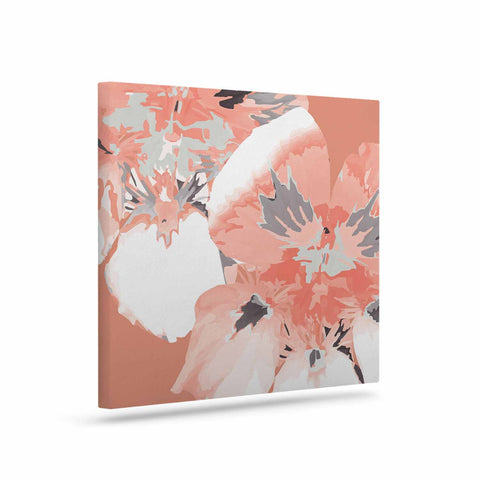 "Love Midge ""Graphic Flower Nasturtium Coral"" Pink Floral Canvas Art - Outlet Item"