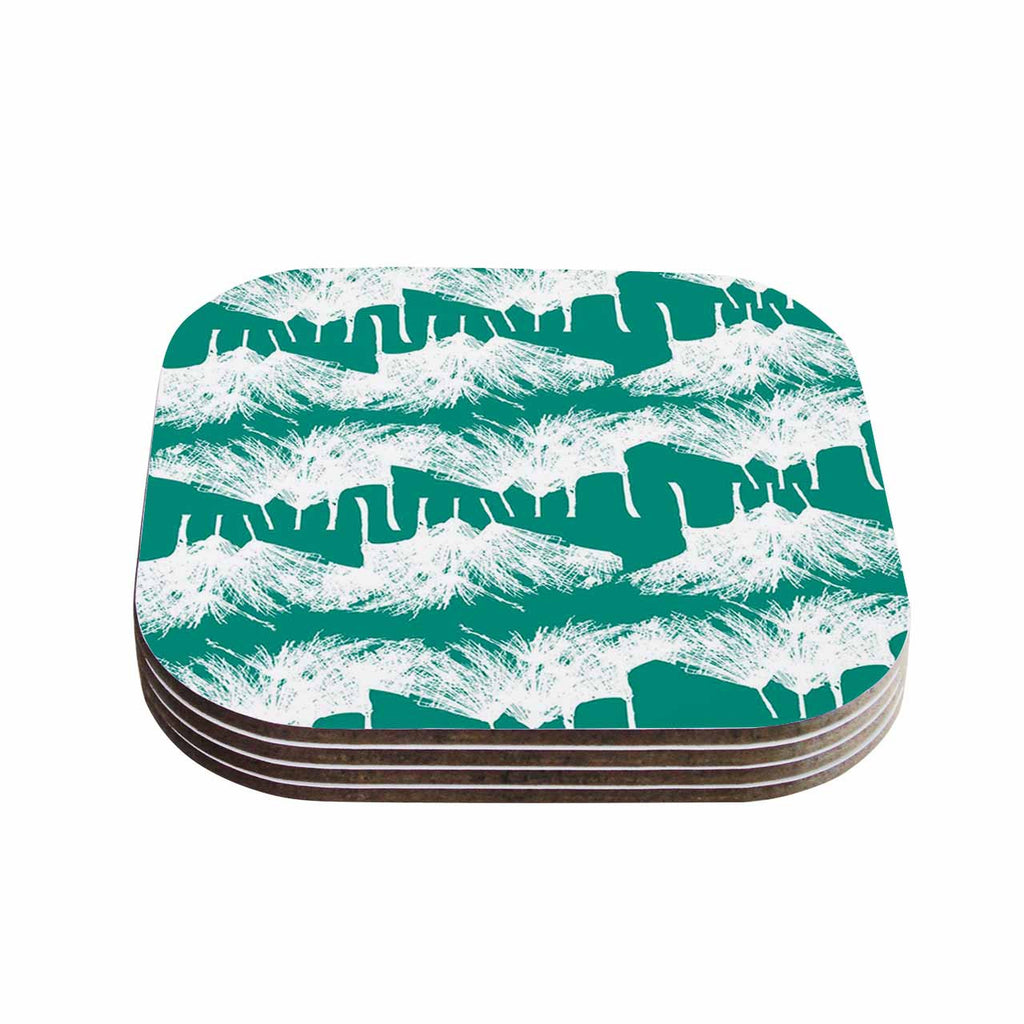 "Love Midge ""Teal Brush "" White Abstract Coasters (Set of 4)"