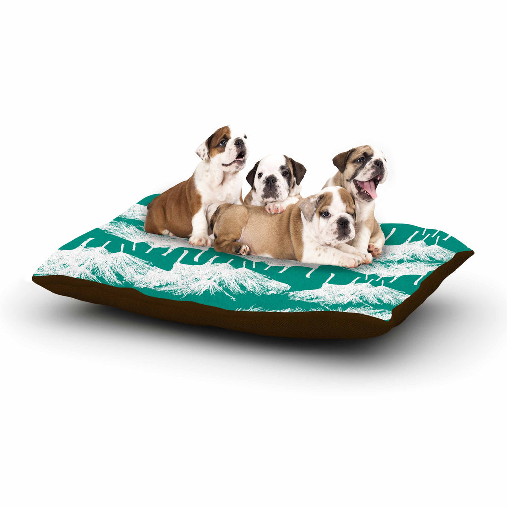 "Love Midge ""Teal Brush "" White Abstract Dog Bed - KESS InHouse  - 1"
