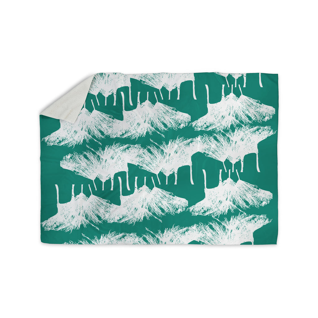 "Love Midge ""Teal Brush "" White Abstract Sherpa Blanket - KESS InHouse  - 1"
