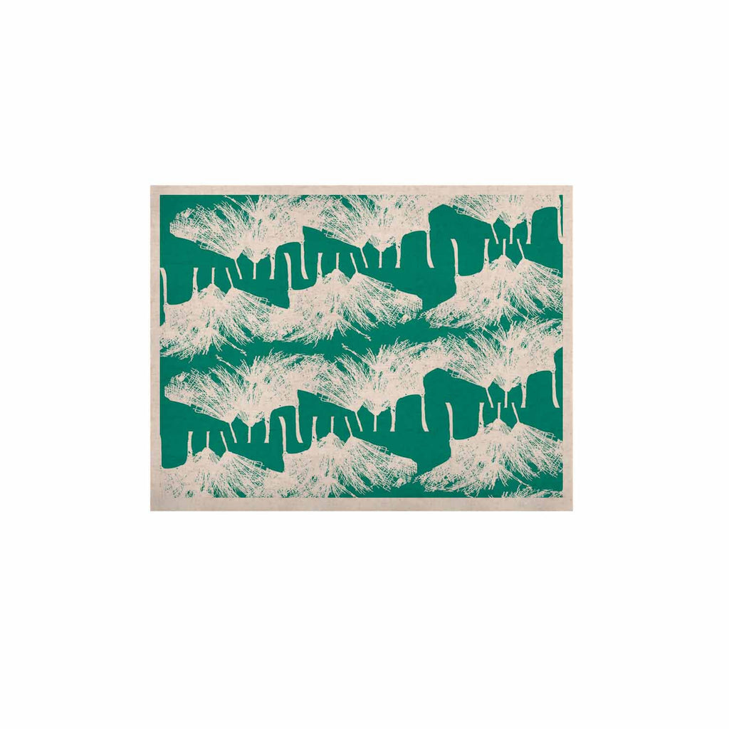 "Love Midge ""Teal Brush "" White Abstract KESS Naturals Canvas (Frame not Included) - KESS InHouse  - 1"
