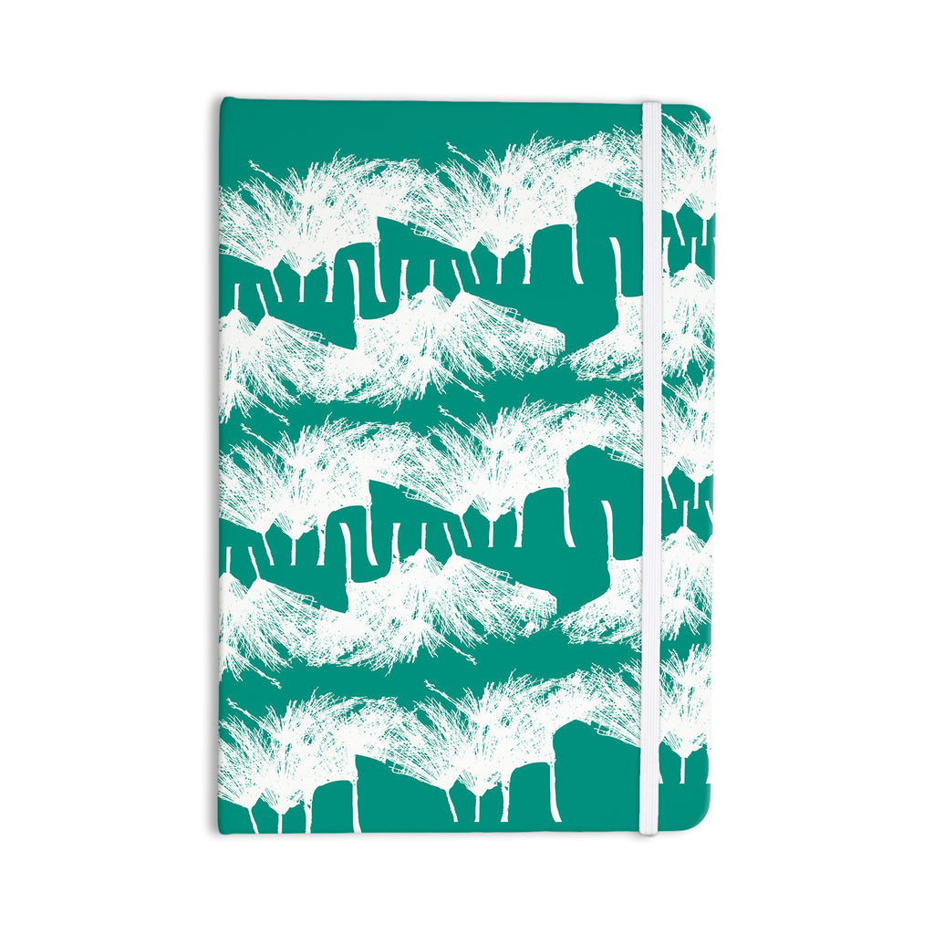 "Love Midge ""Teal Brush "" White Abstract Everything Notebook - KESS InHouse  - 1"