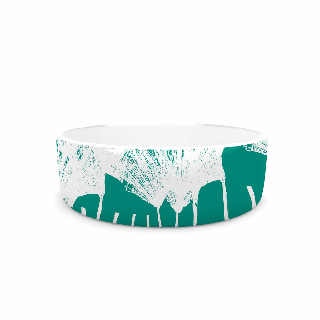 "Love Midge ""Teal Brush "" White Abstract Pet Bowl - KESS InHouse"