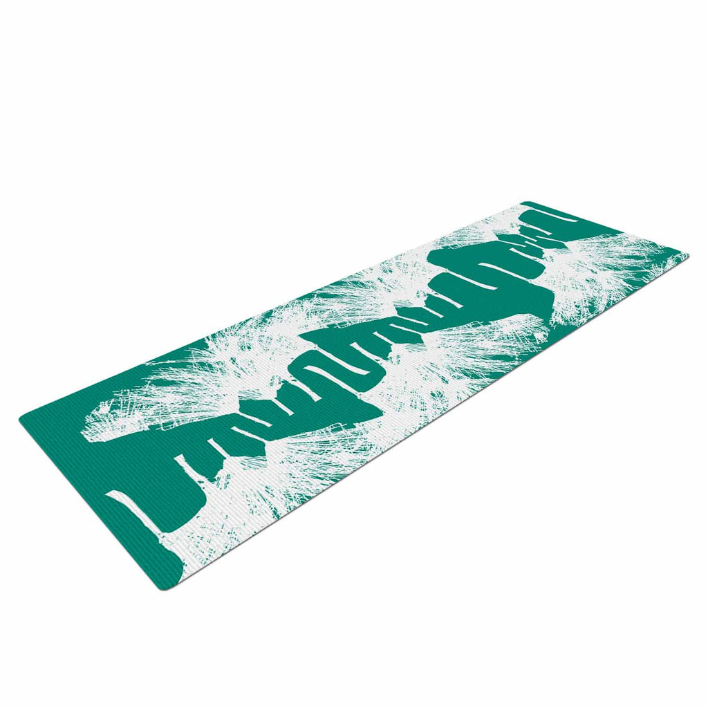 "Love Midge ""Teal Brush "" White Abstract Yoga Mat - KESS InHouse  - 1"