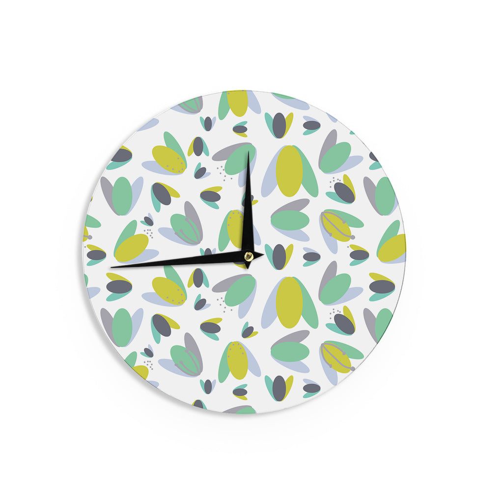 "Love Midge ""1970s Floral Geometric Neon"" Yellow Abstract Wall Clock - KESS InHouse"
