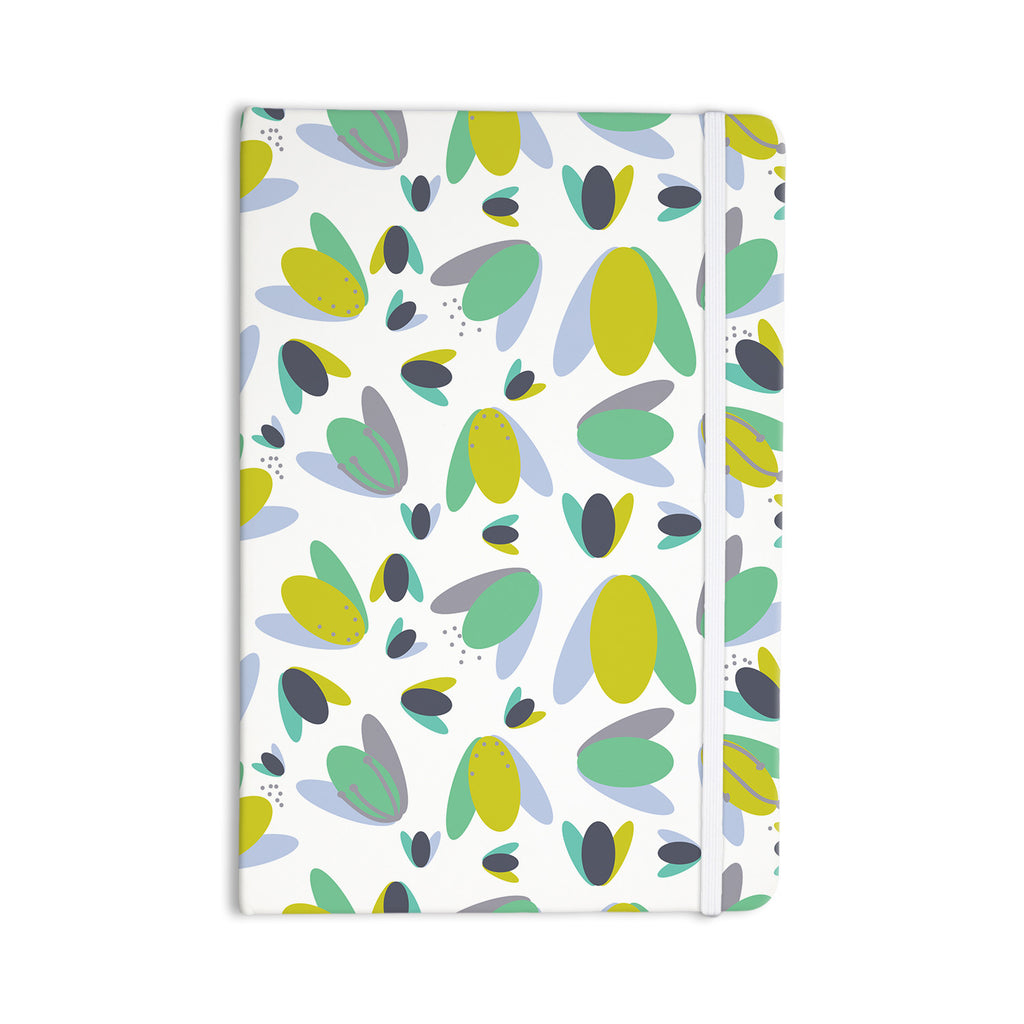 "Love Midge ""1970s Floral Geometric Neon"" Yellow Abstract Everything Notebook - KESS InHouse  - 1"