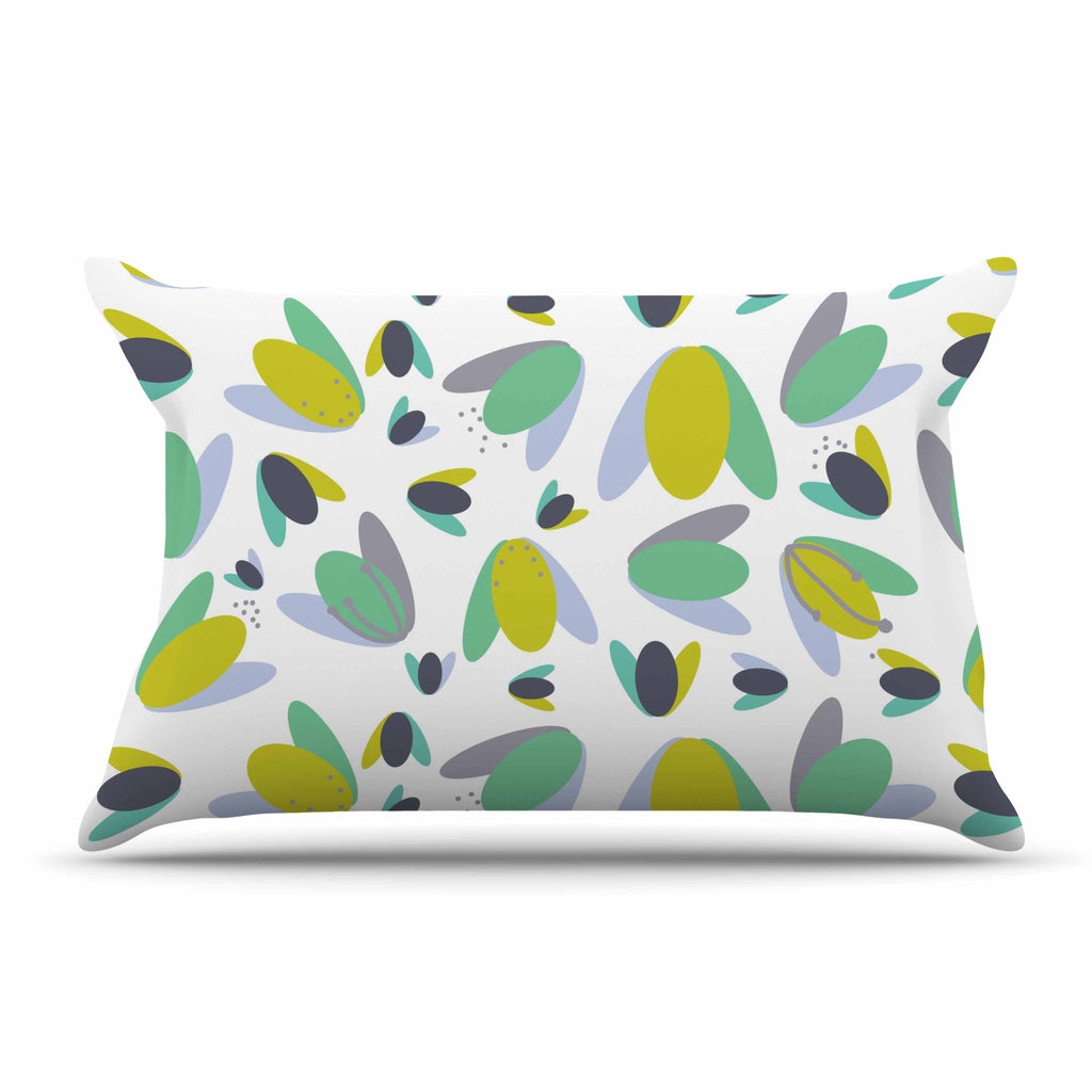 "Love Midge ""1970s Floral Geometric Neon"" Yellow Abstract Pillow Sham - KESS InHouse  - 1"