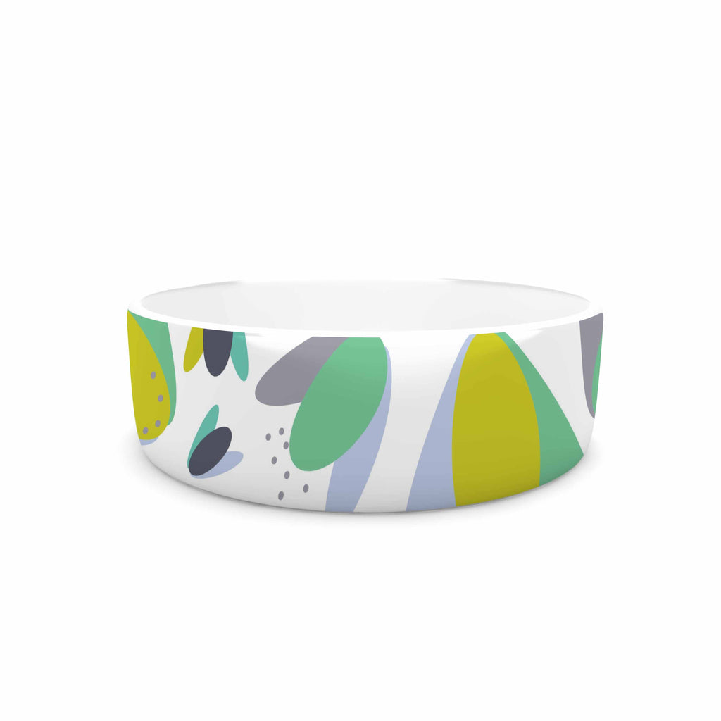 "Love Midge ""1970s Floral Geometric Neon"" Yellow Abstract Pet Bowl - KESS InHouse"