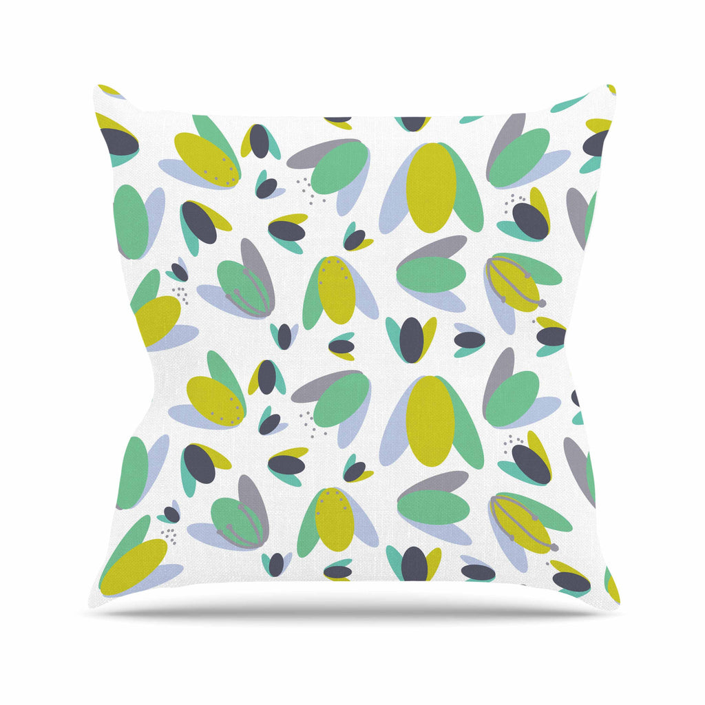 "Love Midge ""1970s Floral Geometric Neon"" Yellow Abstract Outdoor Throw Pillow - KESS InHouse  - 1"