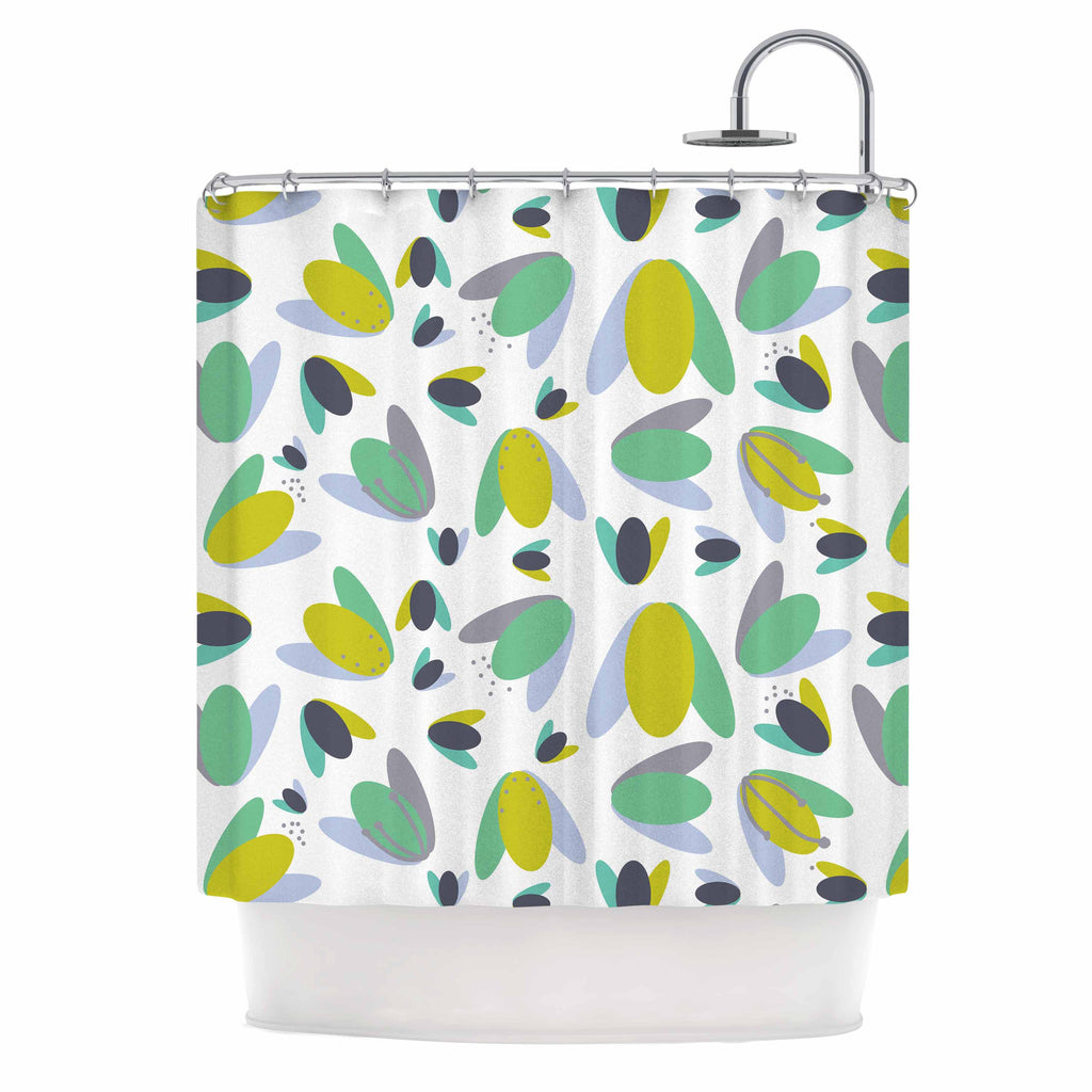 "Love Midge ""1970s Floral Geometric Neon"" Yellow Abstract Shower Curtain - KESS InHouse"